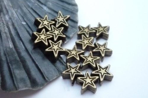 staromosazné  korálky -hvězda  10 ks