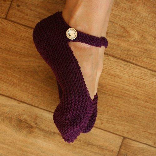 Ručně pletené balerínky z MERINO vlny