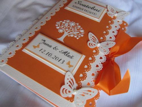 Svatební kniha hostů- butterfly oranžová