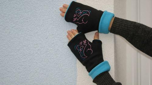Jsem kočka - návleky na ruce(černé s modrou)