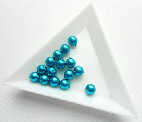 Voskové perle tmavě tyrkysové 6 mm 15 ks