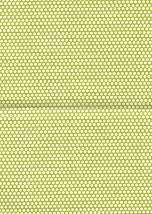 Látka, vzor puntík bílý na kiwi zeleném podkladu