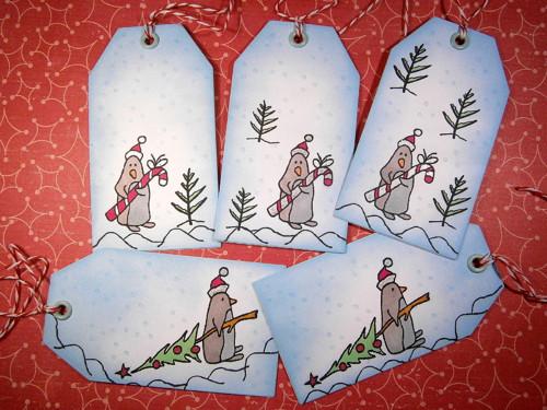 Vánoční visačky - penguin na cestě za vánocemi