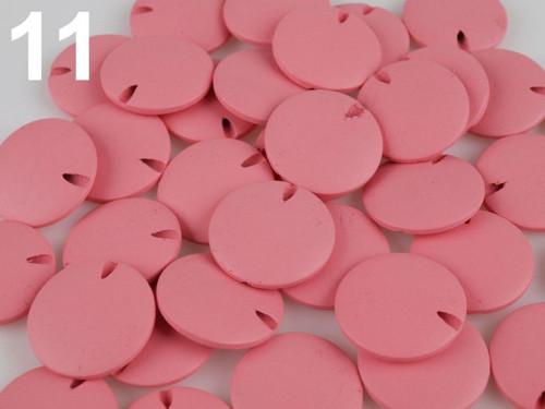 Dřevěné korálky disk Ø25mm (10ks) - růžová