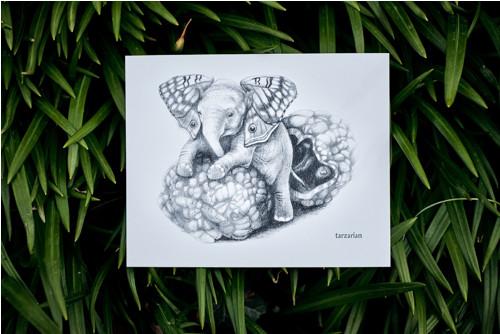 Slon s křídly • pohlednice bílá lesklá