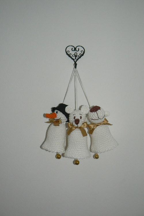 Návod na háčkované zvonky- sob, medvěd, sněhulák