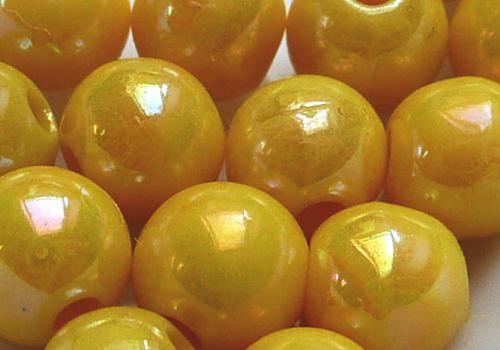 Plastové kuličky duhové 6 mm - žlutá / 10 ks