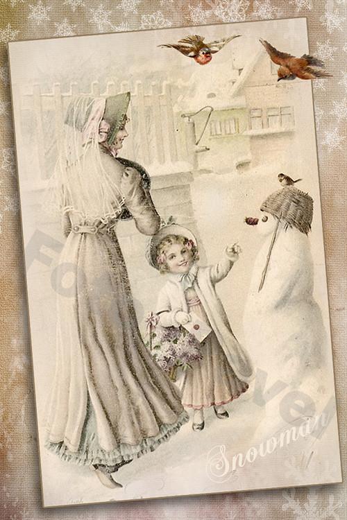 Vintage motiv - vánoce - 99 - sněhulák