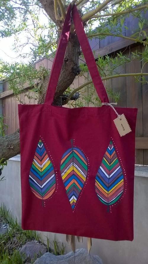 Látková taška s ručně malovaným motivem