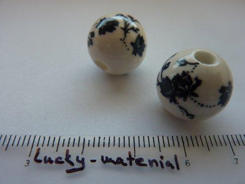 Keramický korálek s kytičkou 16 mm .... 1 kus