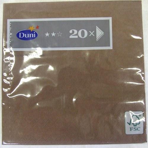 Ubrousky jednobar., bal. 20 ks - čokoládově hnědé