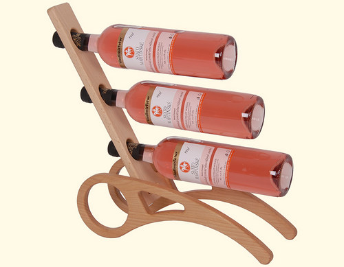 Dřevěný stojan na 3 lahve vína
