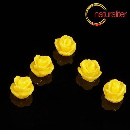 Růžička - kabošon z pryskyřice 7mm, žlutá, 10ks