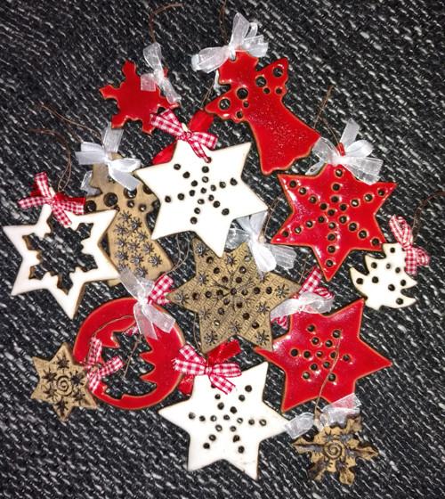 Vánoční ozdoby sada -keramické-oboustranné
