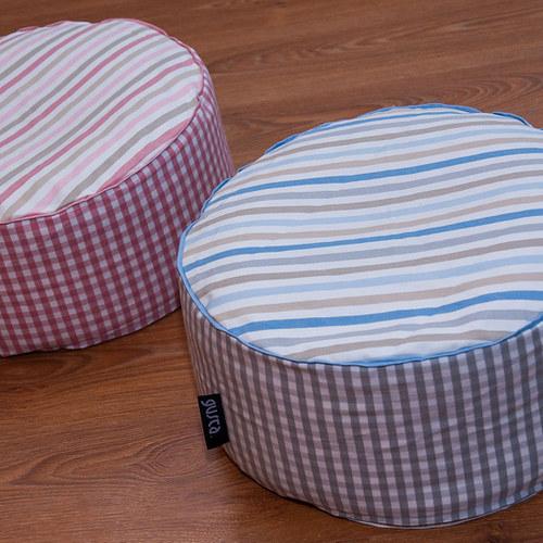 Dva sedací polštářky, růžový a modrý, bio náplň