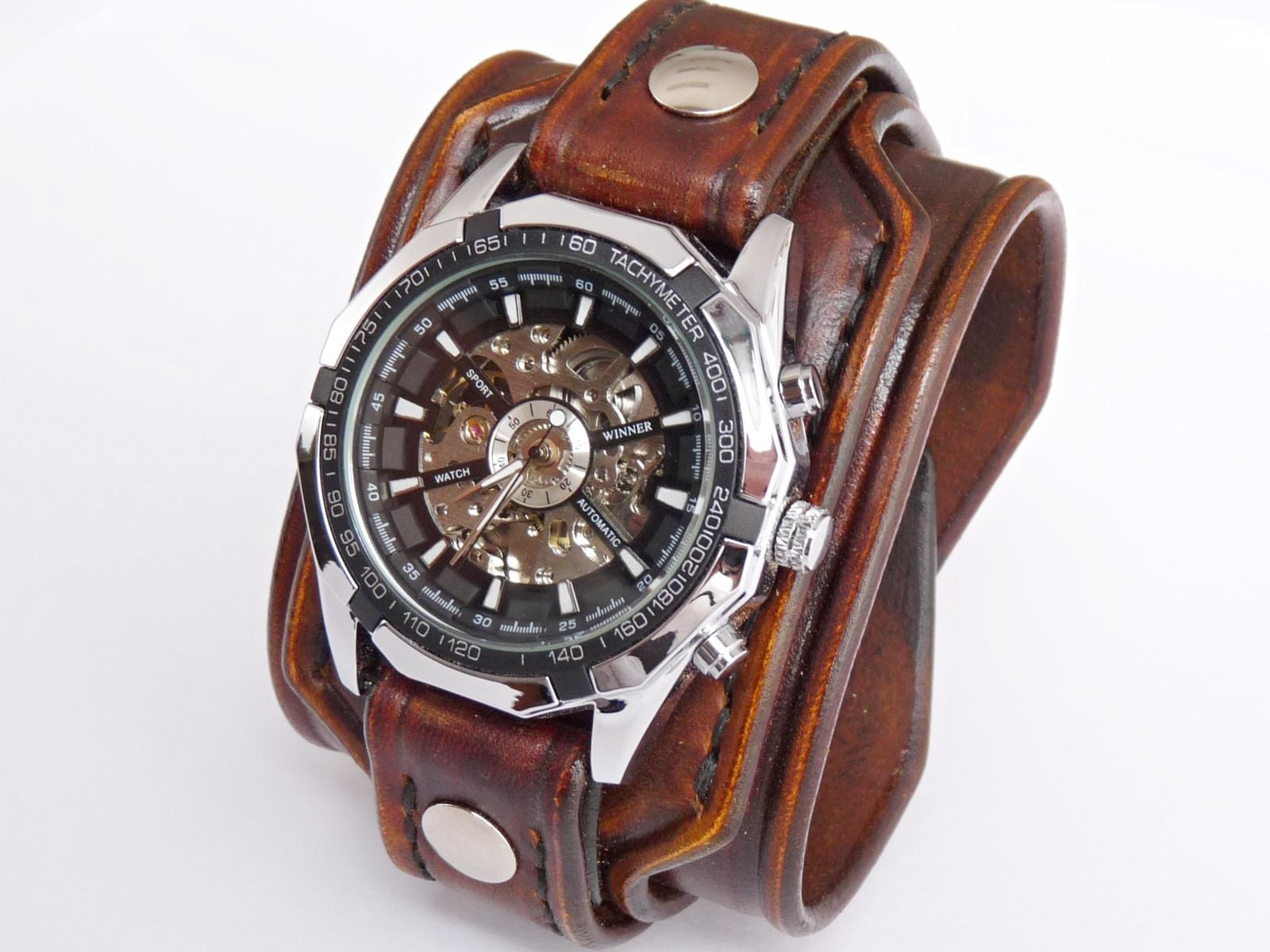 Antialergické pánské hodinky hnědé   Zboží prodejce leon6  b18e239ca03