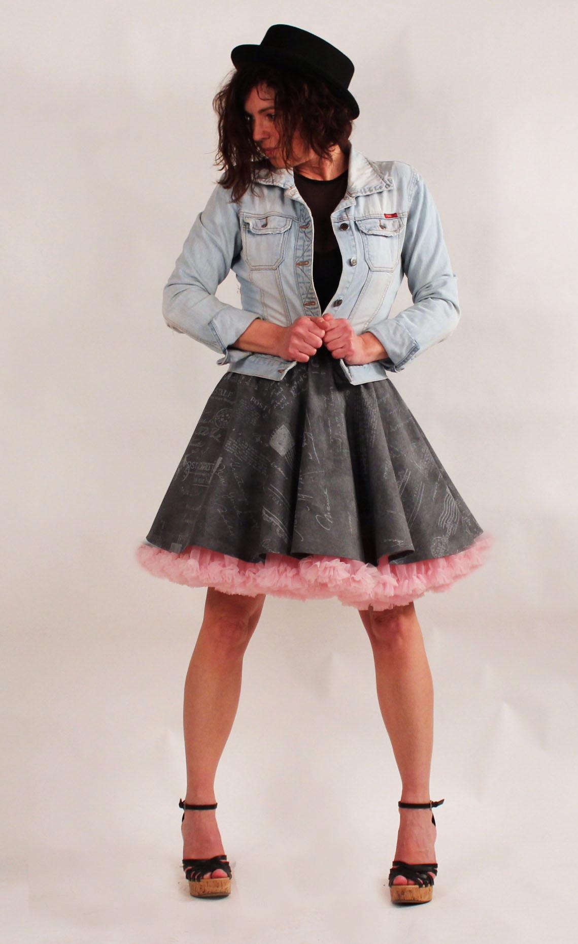 FuFu sukně vzor text + růžová spodnička   Zboží prodejce FuFu sukně ... 5689cf2838
