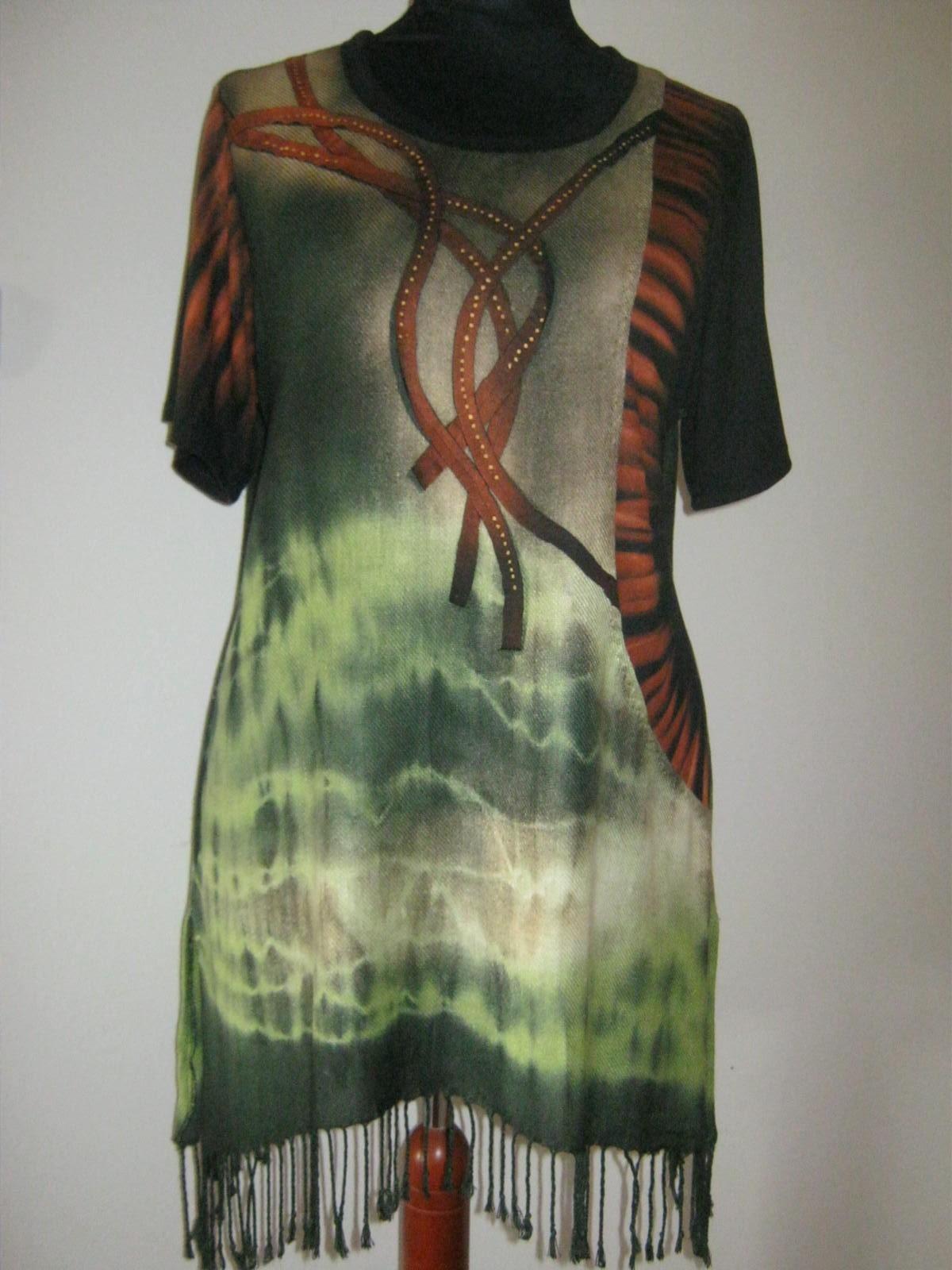 Tunika zelená s třásněmi   Zboží prodejce evelina30  915b38aa17