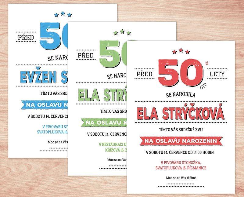 pozvánky k narozeninám 50 Pozvánka na oslavu 50. narozenin II. (No.105a) (červená) / Zboží  pozvánky k narozeninám 50