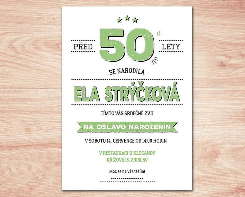pozvánka na 50 narozeniny ke stažení Pozvánka na oslavu 50. narozenin II. (No.105b) (zelená) / Zboží  pozvánka na 50 narozeniny ke stažení