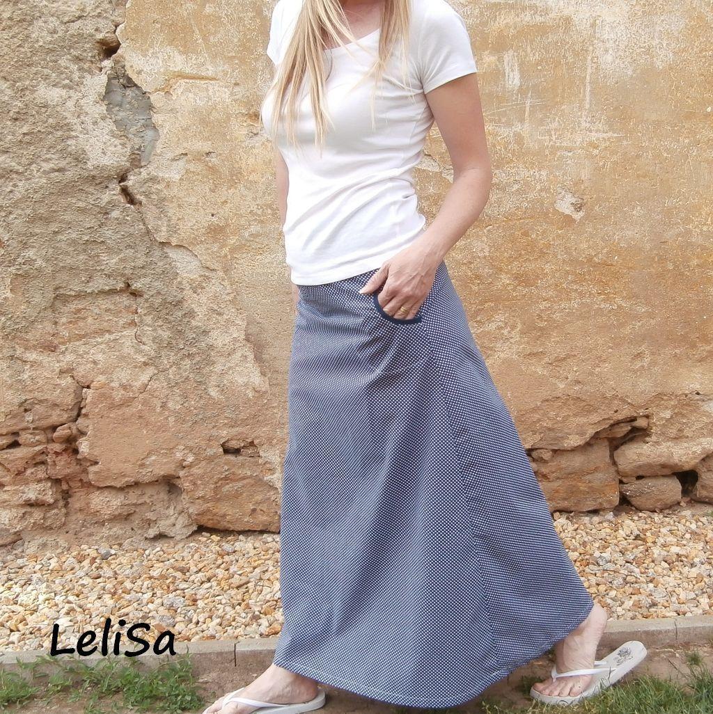 dlouhá sukně puntík s modrou..od LeliSy   Zboží prodejce Lelisa ... 558c68b0d4