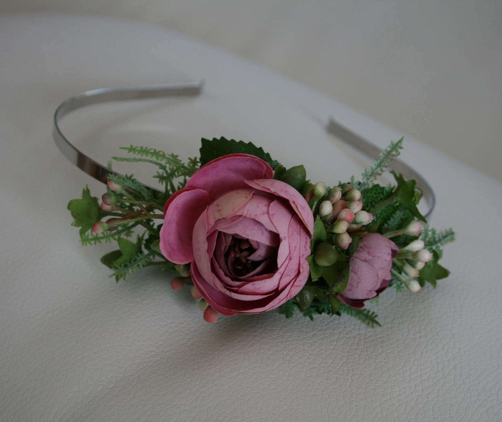 Květinová čelenka do vlasů do růžova   Zboží prodejce jircice  cfe14c93e0