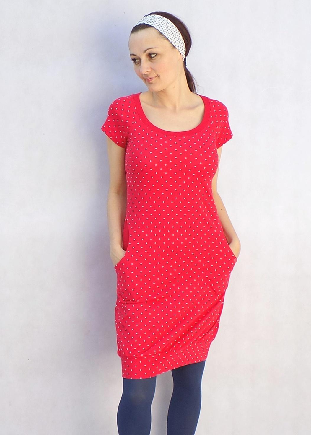 Červené puntíkaté šaty...vel.S M   Zboží prodejce LaPanika  8d57a767934