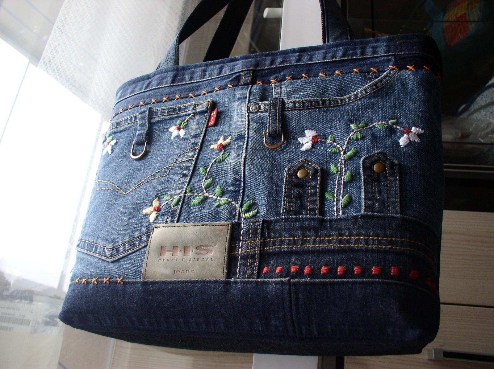 0b7bf87822 Riflová kabelka s výšivkou   Zboží prodejce H.Ž.- tvorba