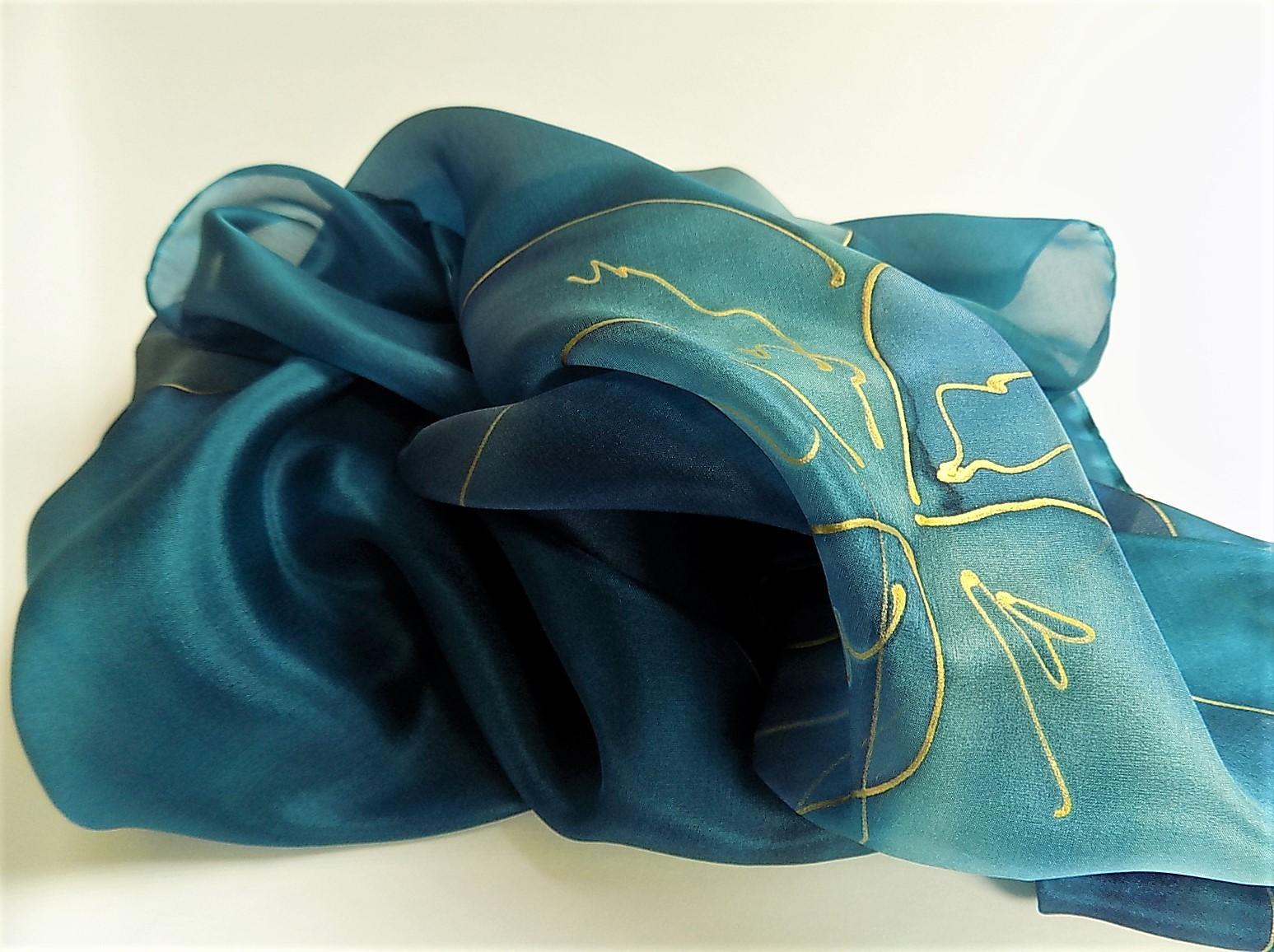 13060074116 Hedvábný šál - Modrý s květy   Zboží prodejce Hedvábí-svíčky