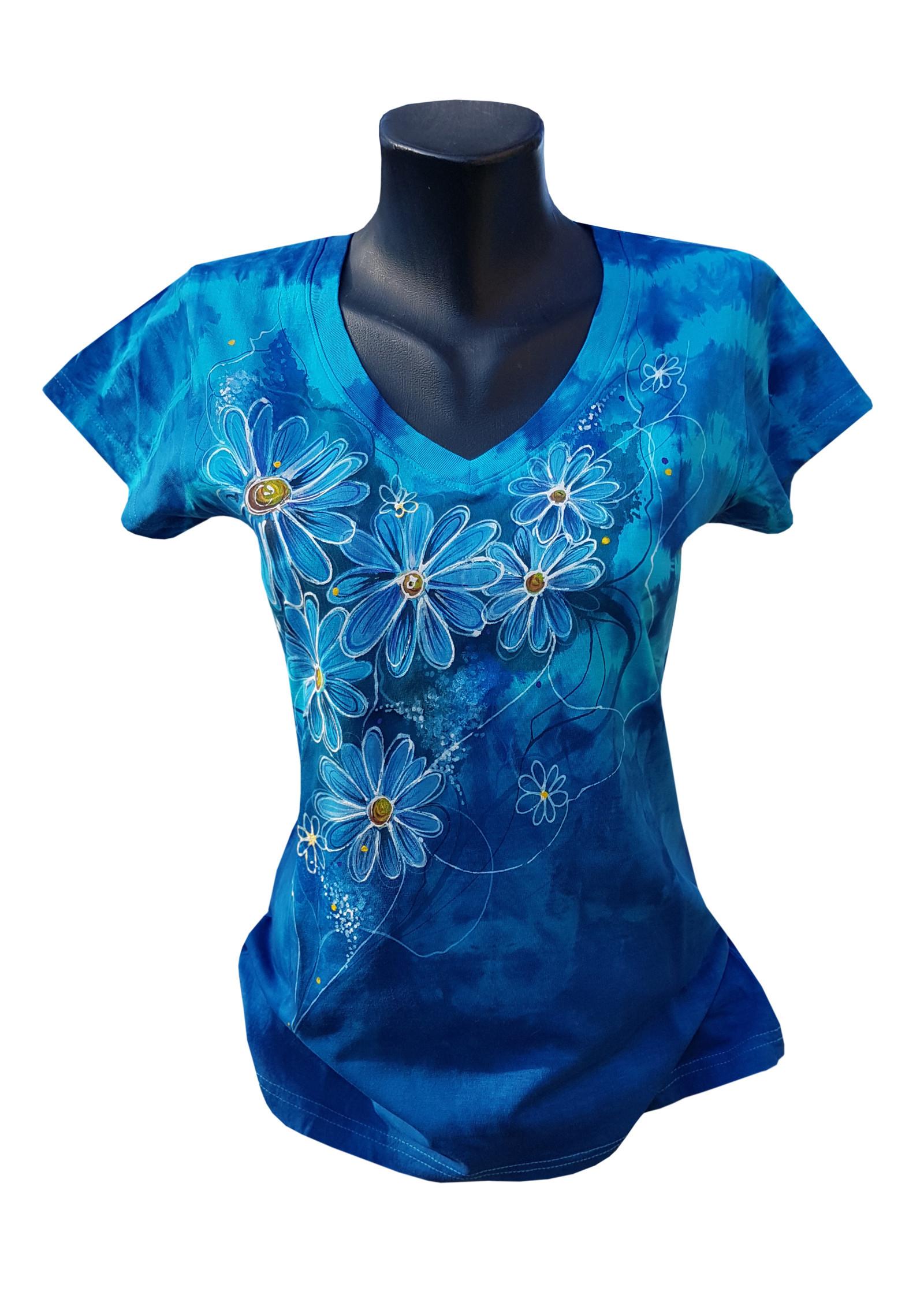 2c7e307a1e7 Tmavě modré tričko s kopretinami- ručně malované   Zboží prodejce ...