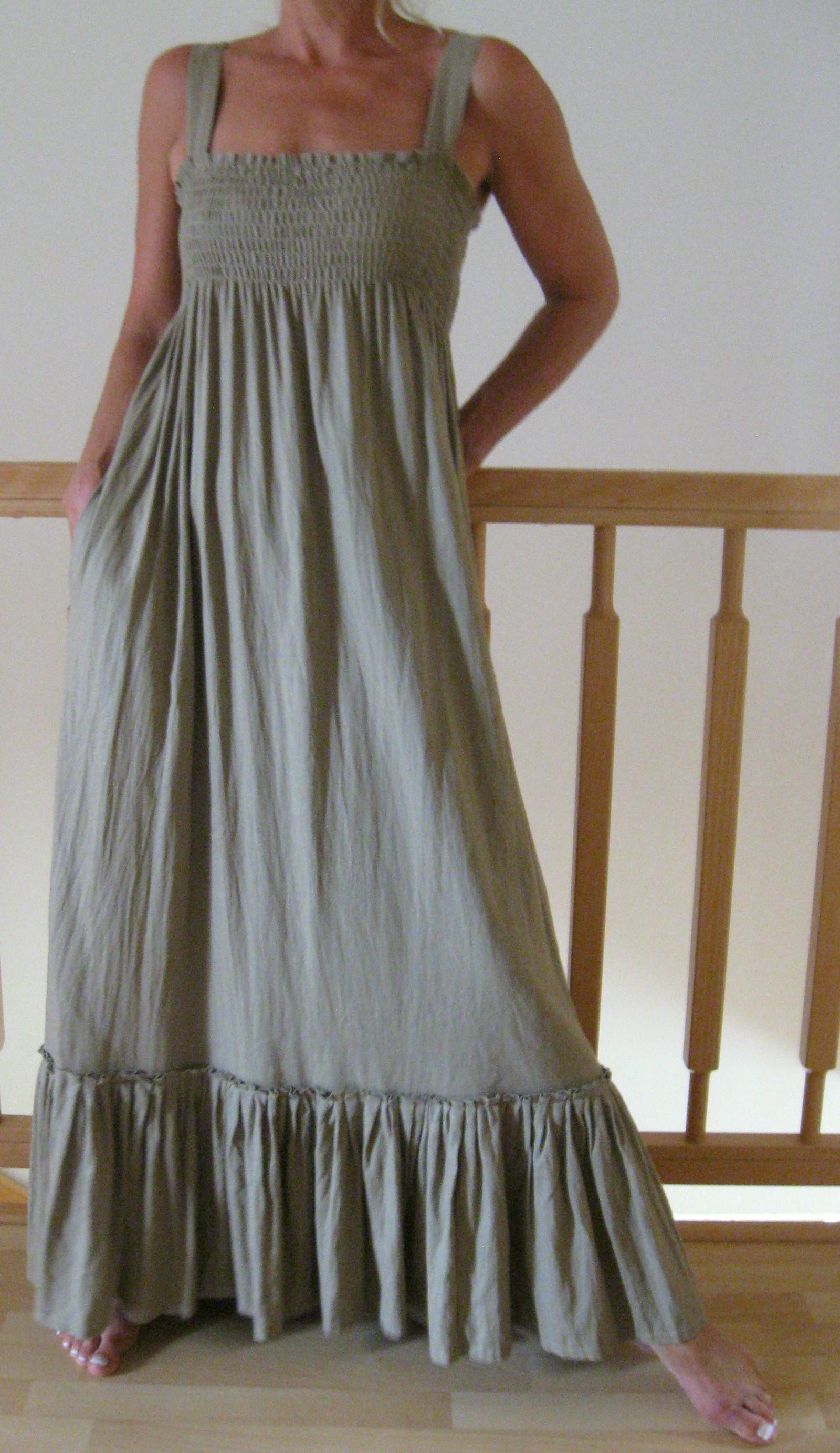 Khaki lněné ... dlouhé šaty