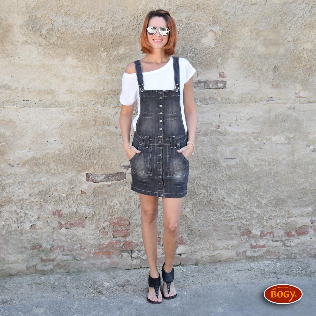 d0b4b59bf2a šedá elastická riflová sukně s laclem a propínáním   Zboží prodejce ...