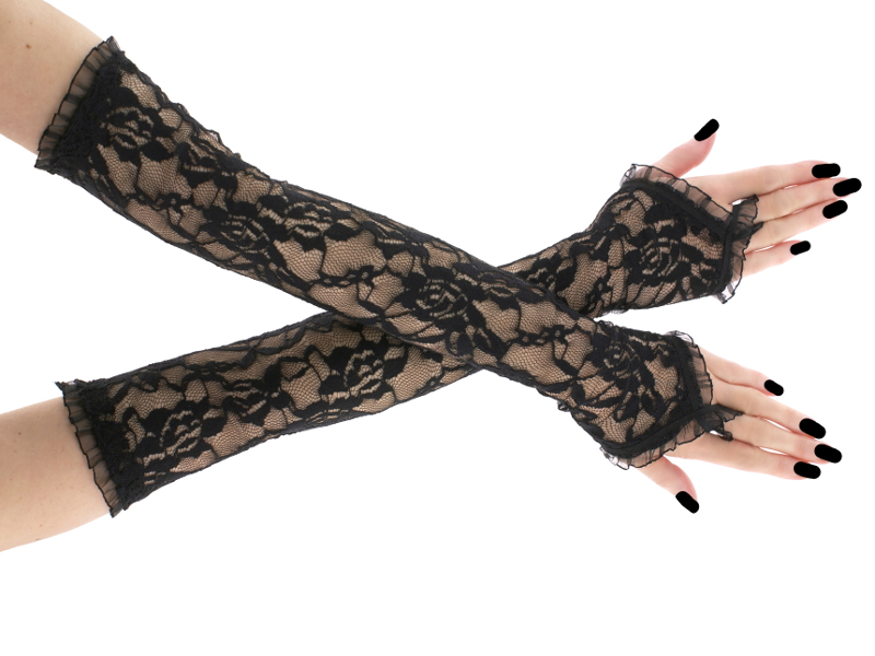 d4fbf0abceb Dámské krajkové rukavice černé 0025H1   Zboží prodejce Gothic ...