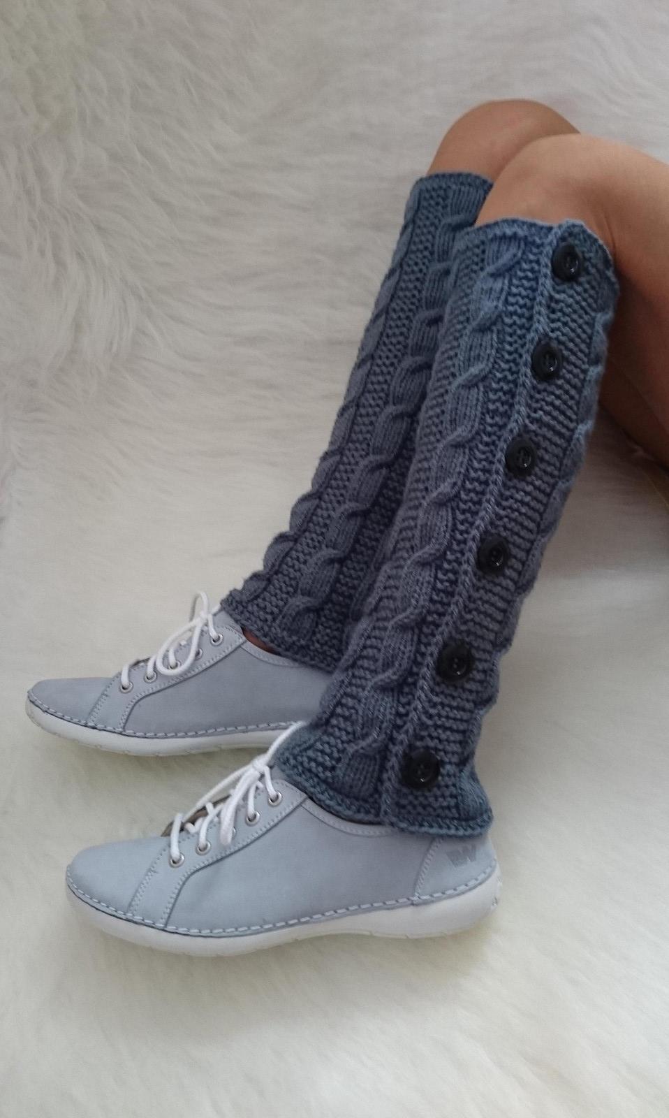 973382cb660 Ručně pletené návleky šedé   Zboží prodejce Babička ovečka