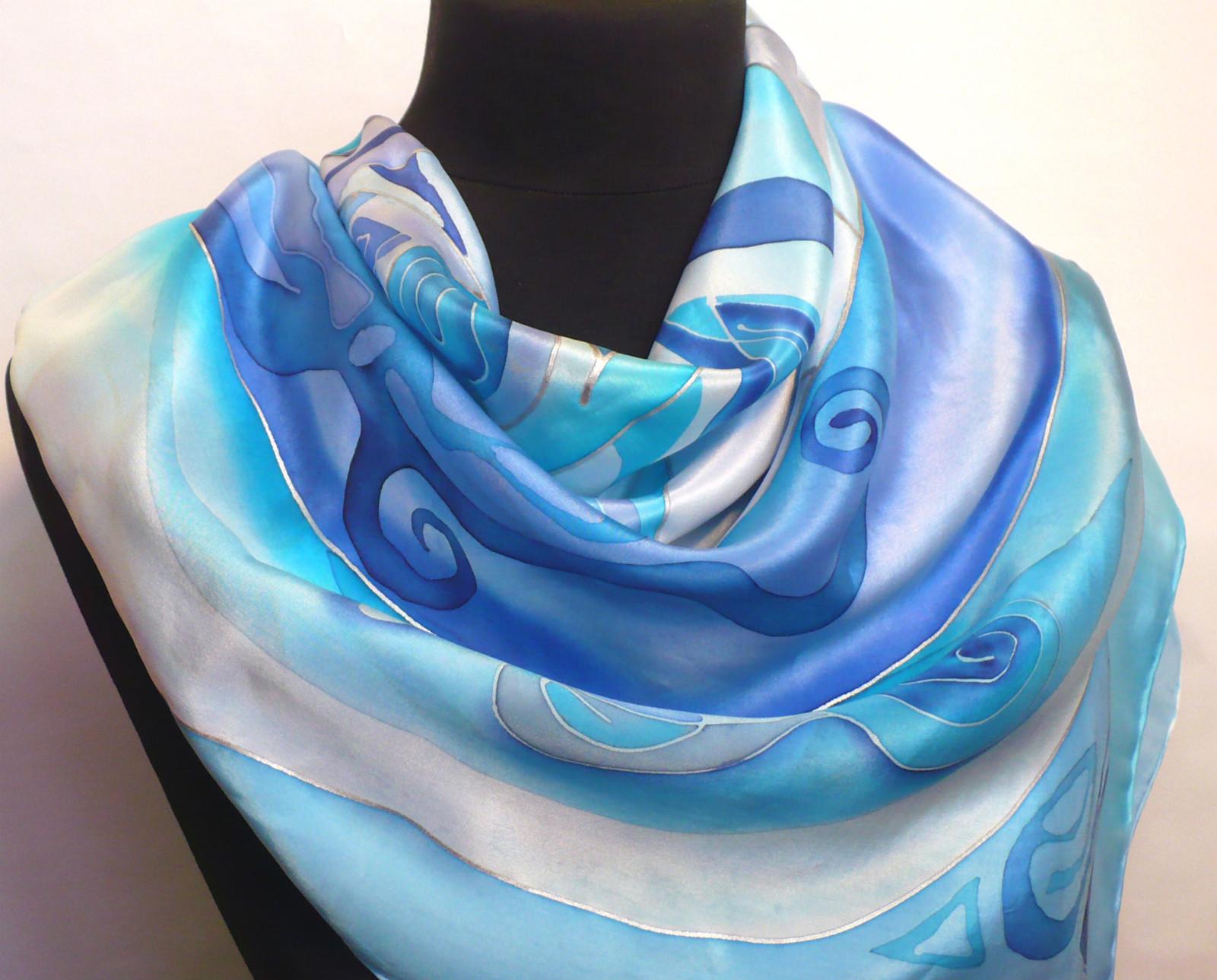 f2e9096ca10 Modrá abstrakce. Hedvábný šátek na přání.   Zboží prodejce jena ...