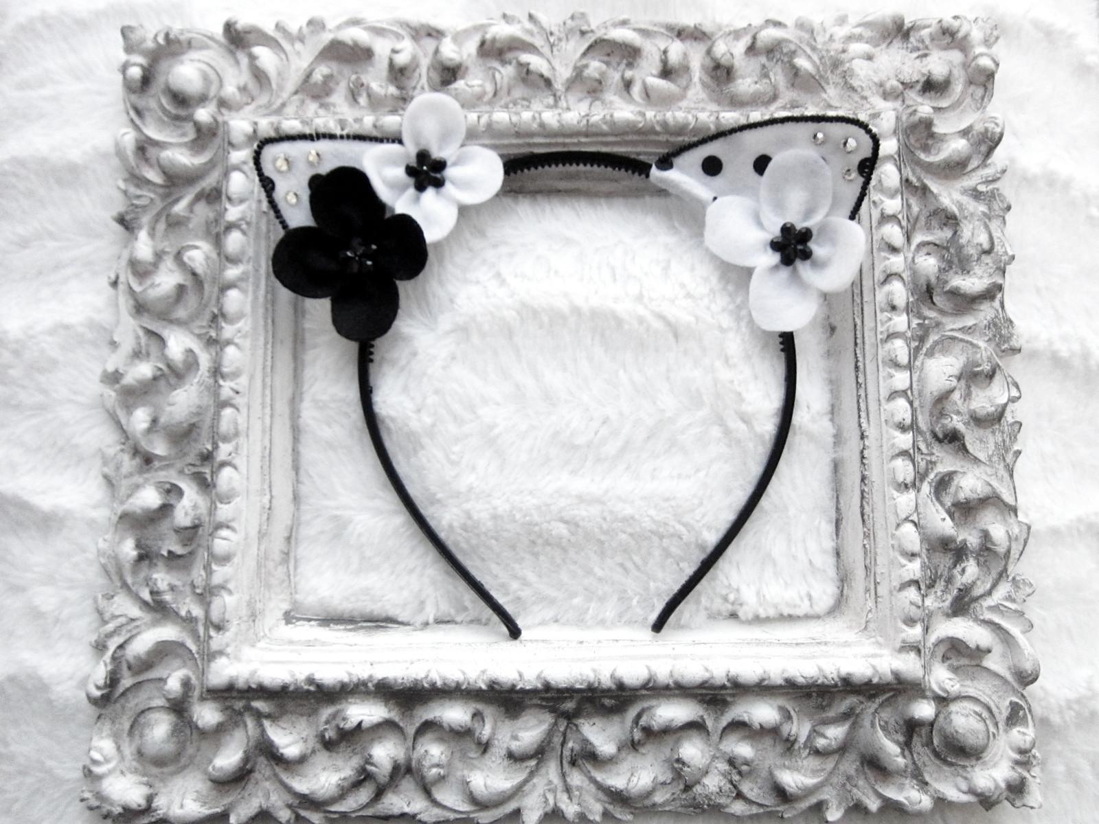 Květinová čelenka kočičí uši - puntíkované   Zboží prodejce ... 5c2a21e2ee