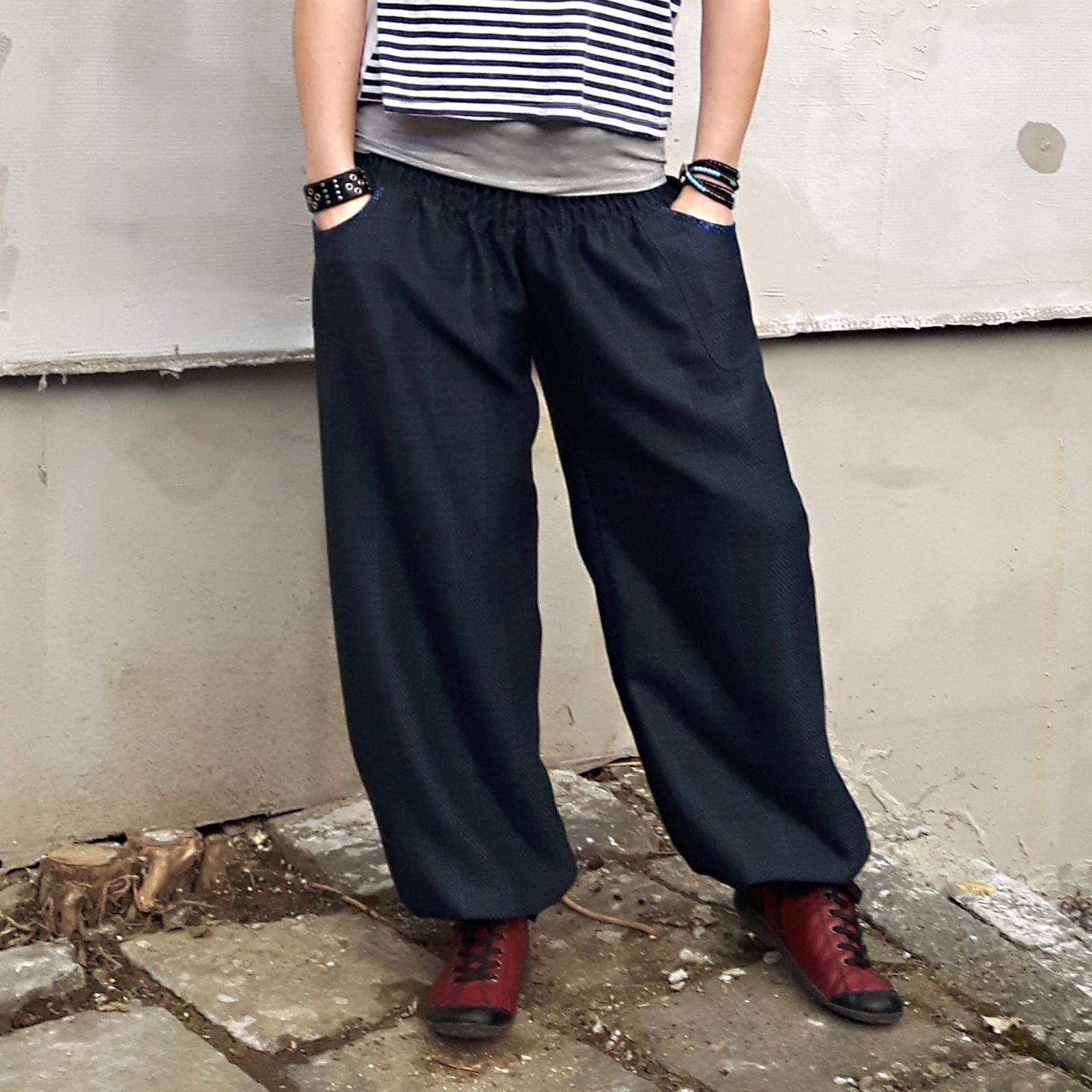 Turecké kalhoty Teplé modré s kapsami   Zboží prodejce madd  088a815642