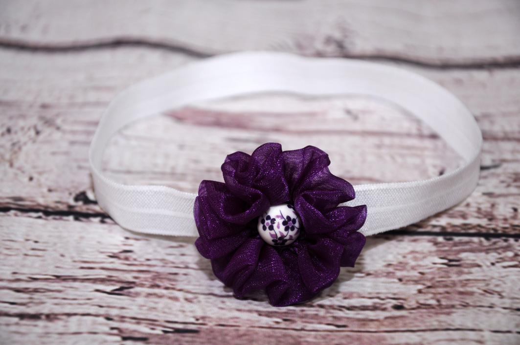čelenka bílá - květ fialový   Zboží prodejce U Klárky  e0746f65ab