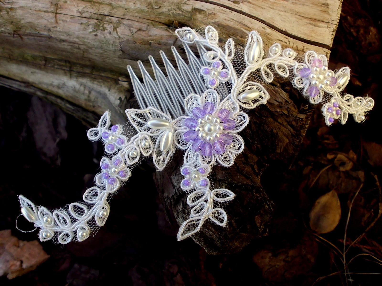 67ec97bd32c svatební mini hřebínek - Ivory + fialová   Zboží prodejce jaseta ...