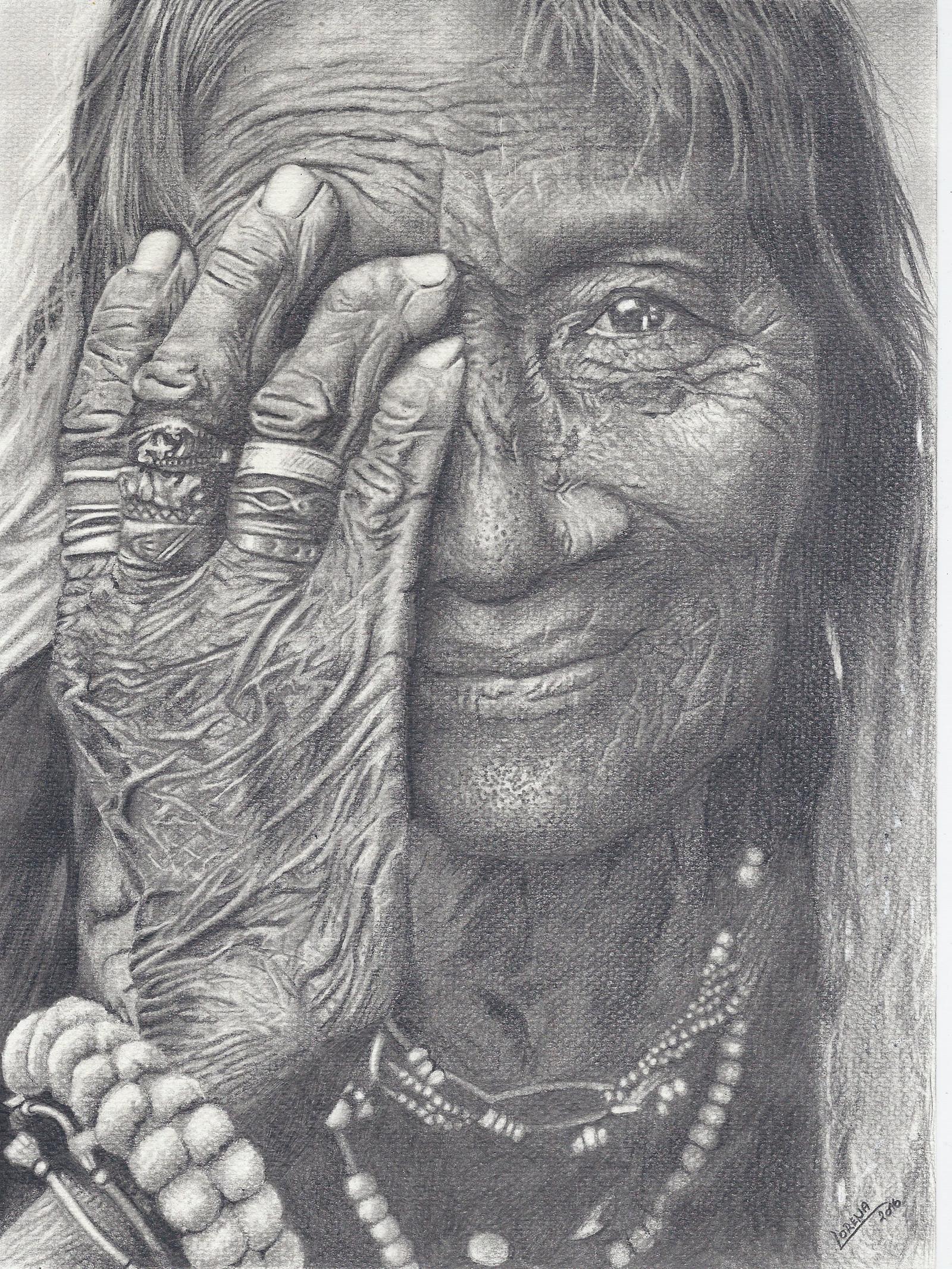 Kresba Stare Zeny Format A3 Zbozi Prodejce Lorena Portrety