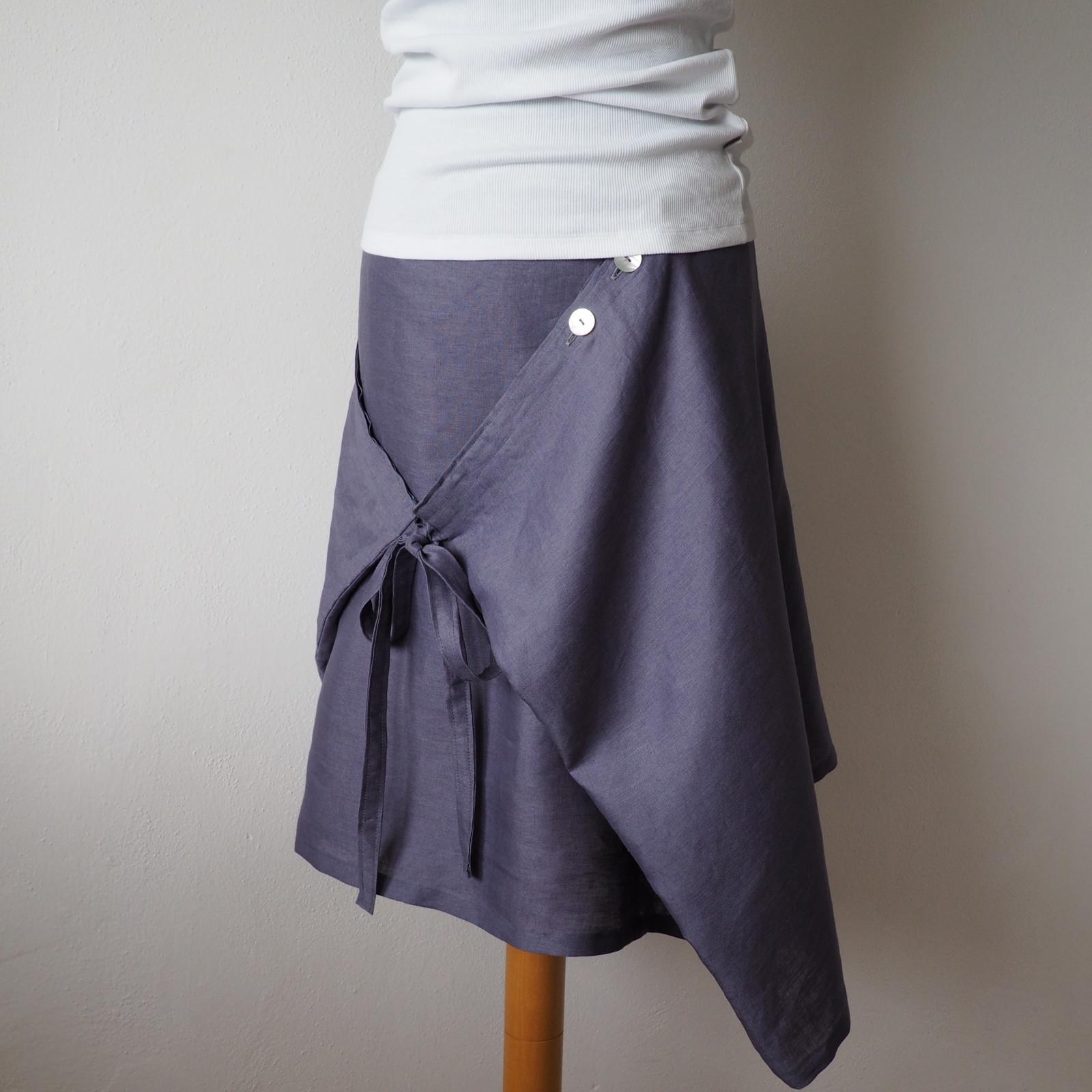 8dbec699a10 Chytrá zavinovací sukně lněná tmavě šedá   Zboží prodejce artsilk ...