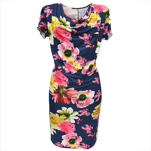Tmavě modré šaty s květy - vel. 40   Zboží prodejce Štěpánka ... f3608c5721