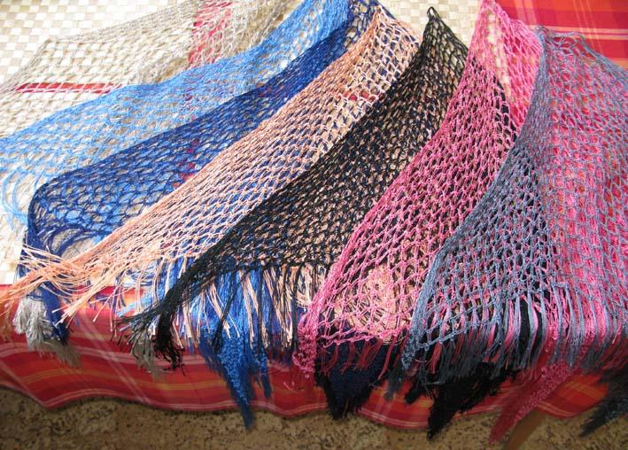 šátek háčkovaný síťovaný různé barvy 71e9ac52b7