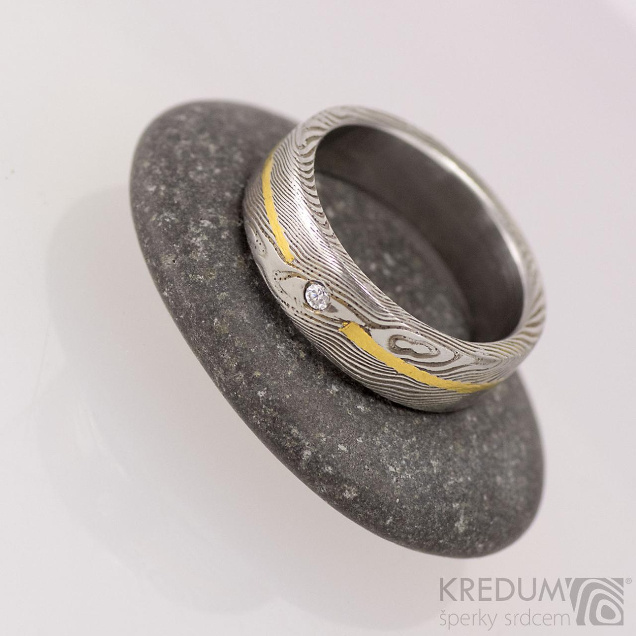 Snubni Prsten Damasteel Zlato Diamant 1 7 Mm Goda Zbozi Prodejce