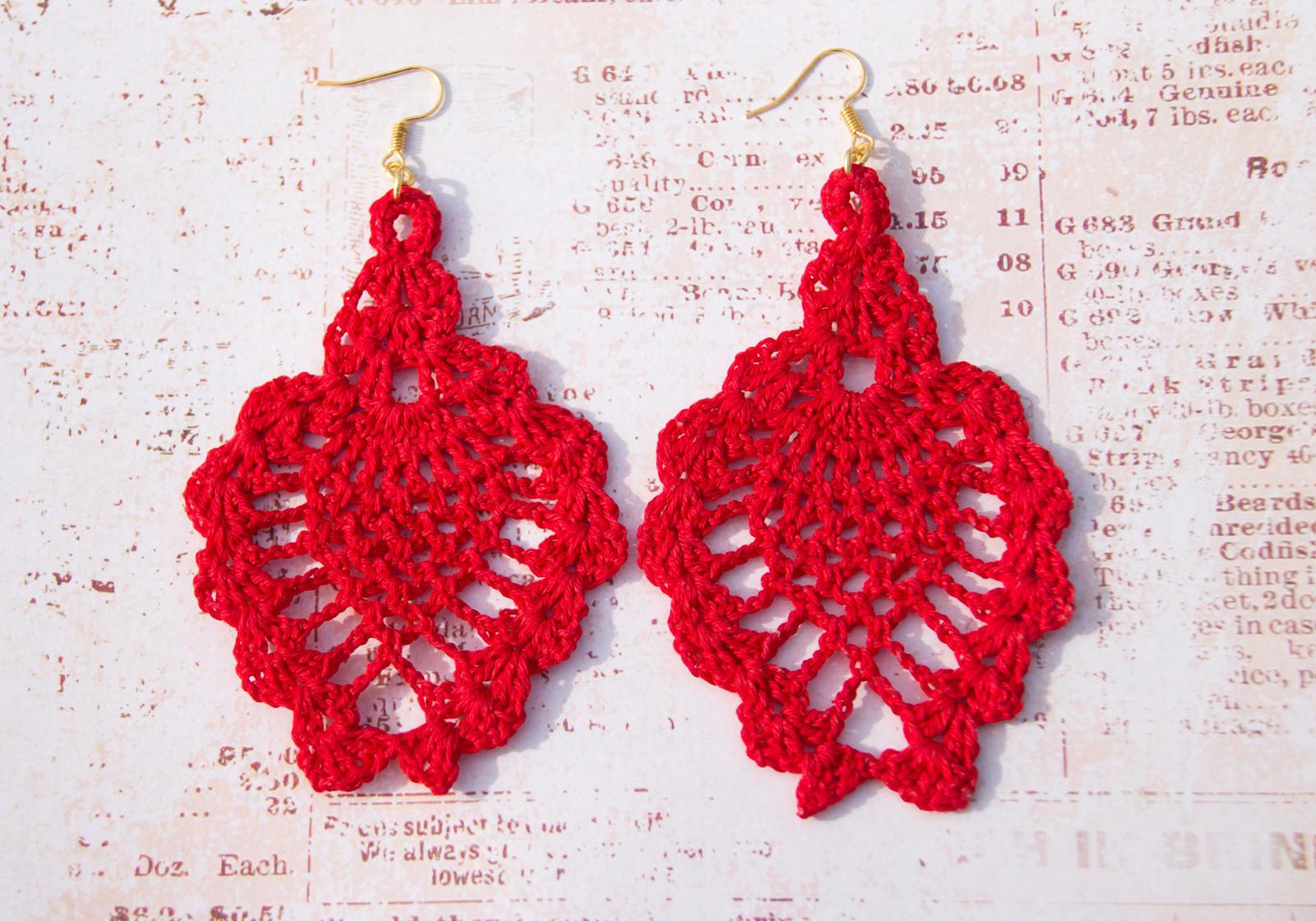 háčkované náušnice krajkové červené   Zboží prodejce VitaLie  74cff437a04
