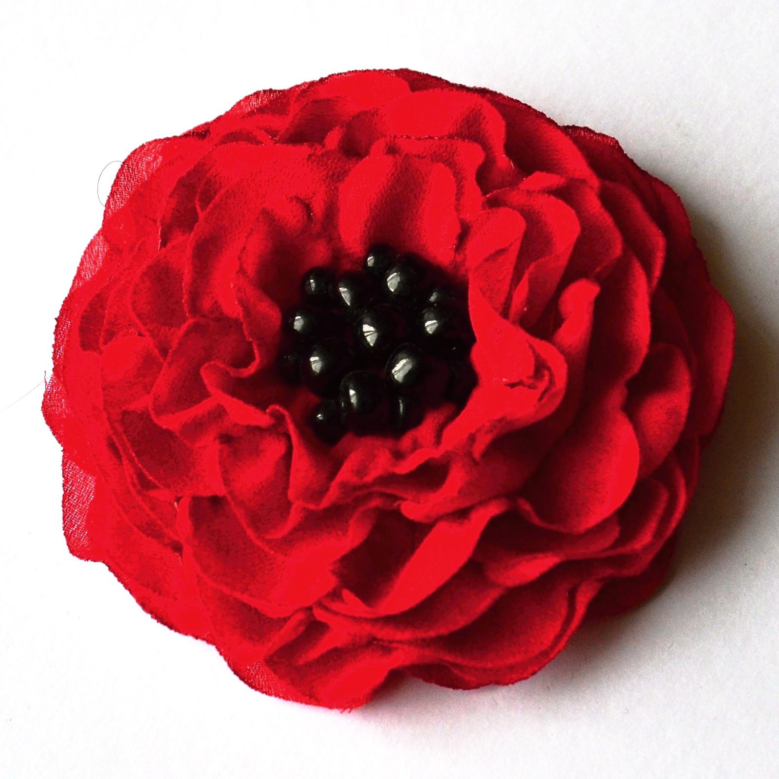 Brož i květ do vlasů - červená 9 5599d24415