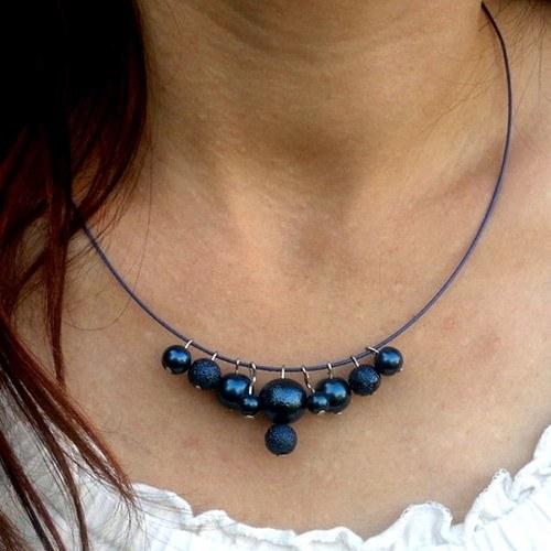f14ca4327 Modré perly na obruči-náhrdelník / Zboží prodejce ŠRUM | Fler.cz