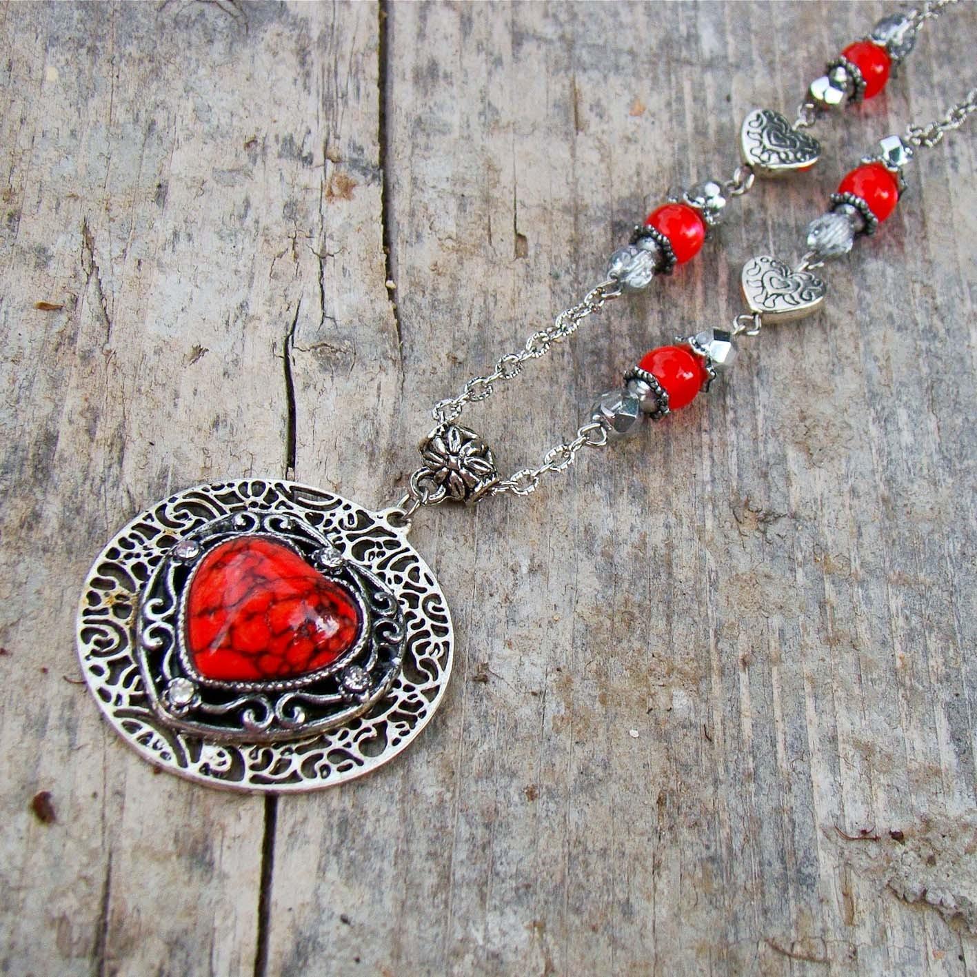 407dc10d2 náhrdelník Červené srdce / Zboží prodejce ancovicka-design | Fler.cz