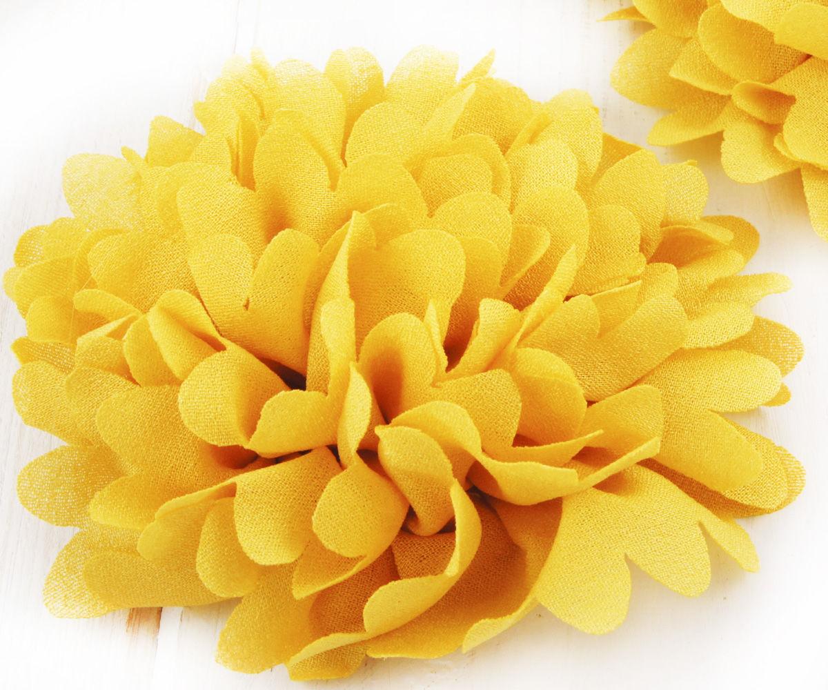 340ee6d7e85 2ks Žluté Předené Hedvábí Umělé Květiny Flatback H   Zboží prodejce ...