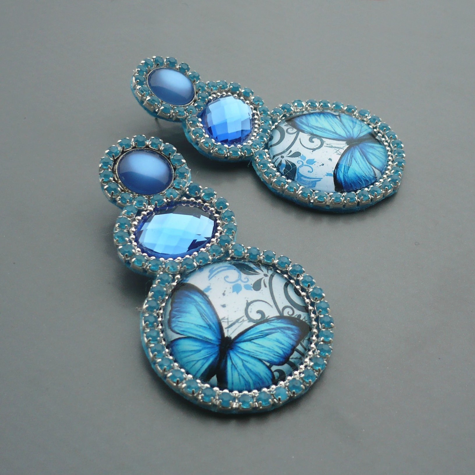 eed0fff3b Modrý motýlek v modré - velké náušnice puzety / Zboží prodejce ...